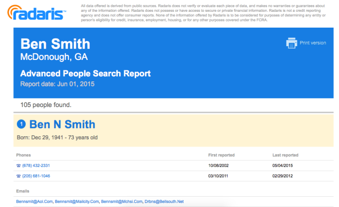People Search Report